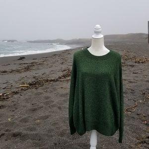 H&M Green Metallic Pullover Sweater